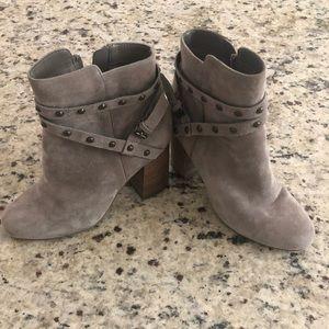Grey suede booties